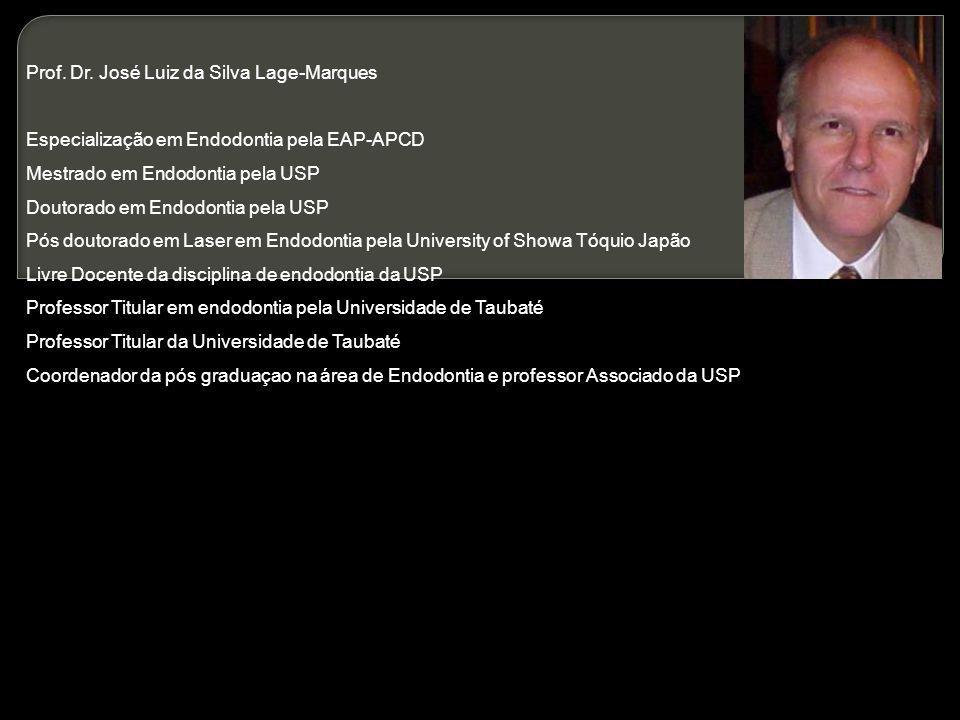 Prof. Dr. José Luiz da Silva Lage-Marques Especialização em Endodontia pela EAP-APCD Mestrado em Endodontia pela USP Doutorado em Endodontia pela USP