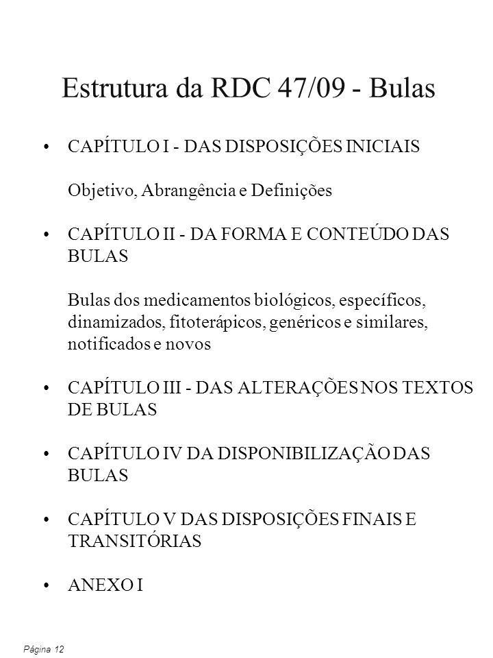 CAPÍTULO I - DAS DISPOSIÇÕES INICIAIS Objetivo, Abrangência e Definições CAPÍTULO II - DA FORMA E CONTEÚDO DAS BULAS Bulas dos medicamentos biológicos