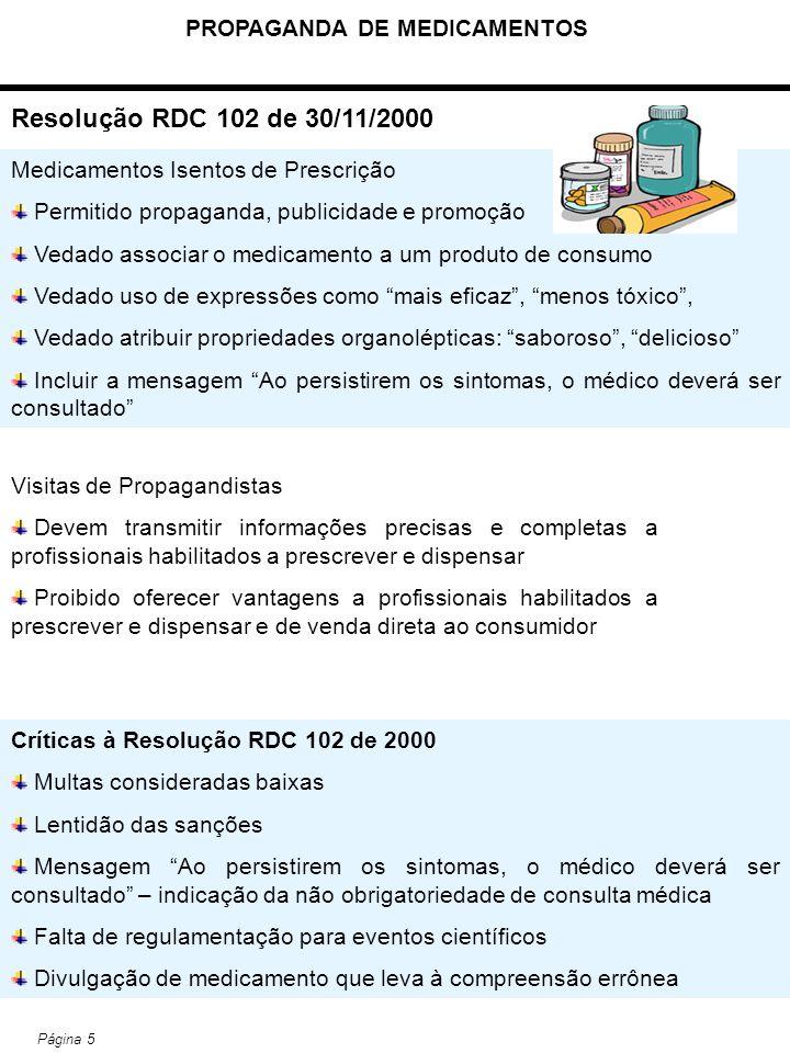 PROPAGANDA DE MEDICAMENTOS Página 5 Resolução RDC 102 de 30/11/2000 Medicamentos Isentos de Prescrição Permitido propaganda, publicidade e promoção Ve