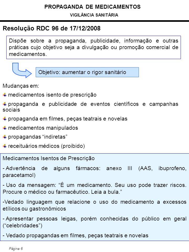 PROPAGANDA DE MEDICAMENTOS VIGILÂNCIA SANITÁRIA Página 6 Resolução RDC 96 de 17/12/2008 Mudanças em: medicamentos isento de prescrição propaganda e pu