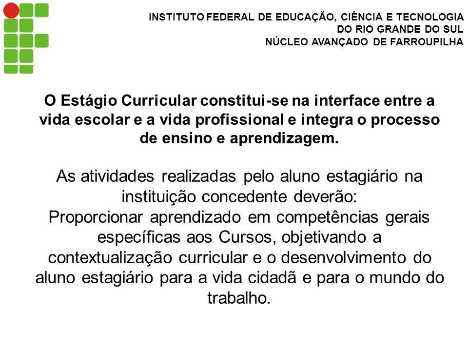 INSTITUTO FEDERAL DE EDUCAÇÃO, CIÊNCIA E TECNOLOGIA DO RIO GRANDE DO SUL NÚCLEO AVANÇADO DE FARROUPILHA O Estágio Curricular constitui-se na interface entre a vida escolar e a vida profissional e integra o processo de ensino e aprendizagem.