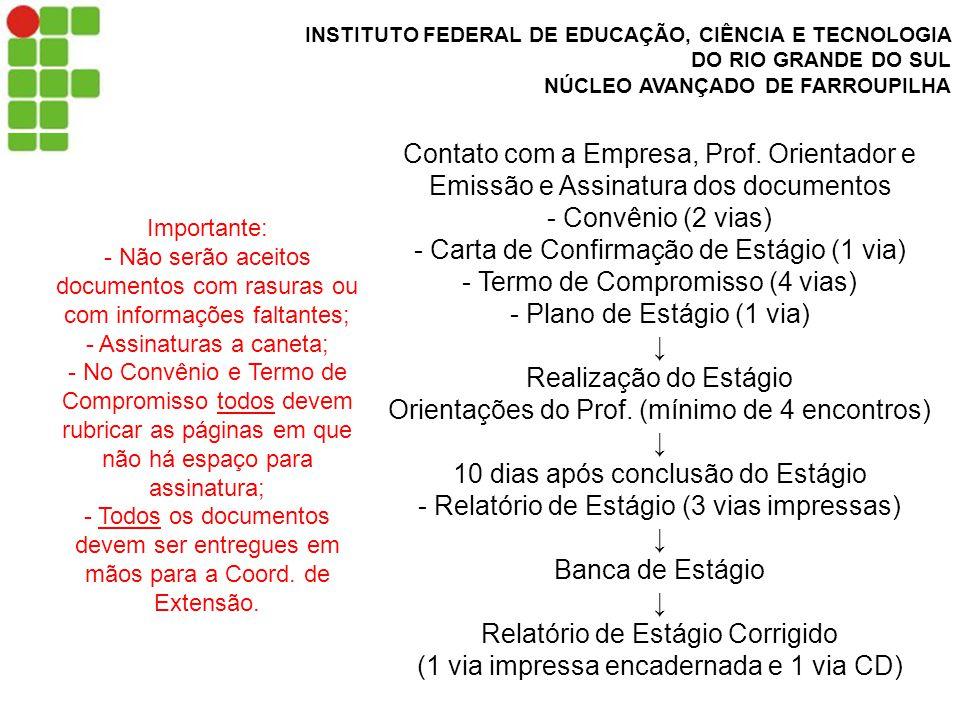 INSTITUTO FEDERAL DE EDUCAÇÃO, CIÊNCIA E TECNOLOGIA DO RIO GRANDE DO SUL NÚCLEO AVANÇADO DE FARROUPILHA Contato com a Empresa, Prof.