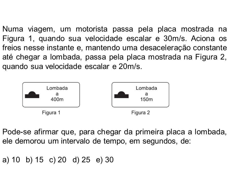 Numa viagem, um motorista passa pela placa mostrada na Figura 1, quando sua velocidade escalar e 30m/s.