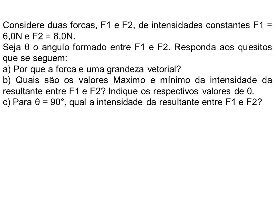 Considere duas forcas, F1 e F2, de intensidades constantes F1 = 6,0N e F2 = 8,0N.