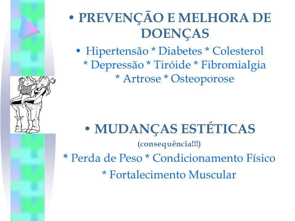 PREVENÇÃO E MELHORA DE DOENÇAS Hipertensão * Diabetes * Colesterol * Depressão * Tiróide * Fibromialgia * Artrose * Osteoporose MUDANÇAS ESTÉTICAS (co