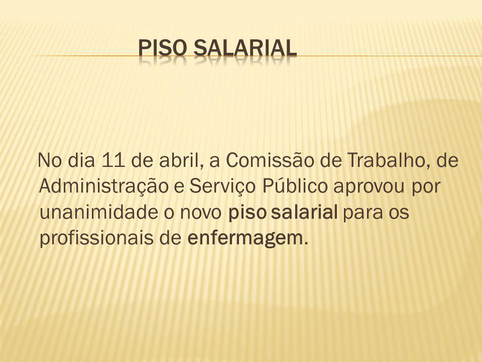 O Projeto de Lei 2573/11, em análise na Câmara, fixa o piso salarial: de enfermeiro (R$ 5.450), de técnico de enfermagem (R$ 2.725), de auxiliar de enfermagem (R$ 2.180) e de parteira (R$ 2.180).