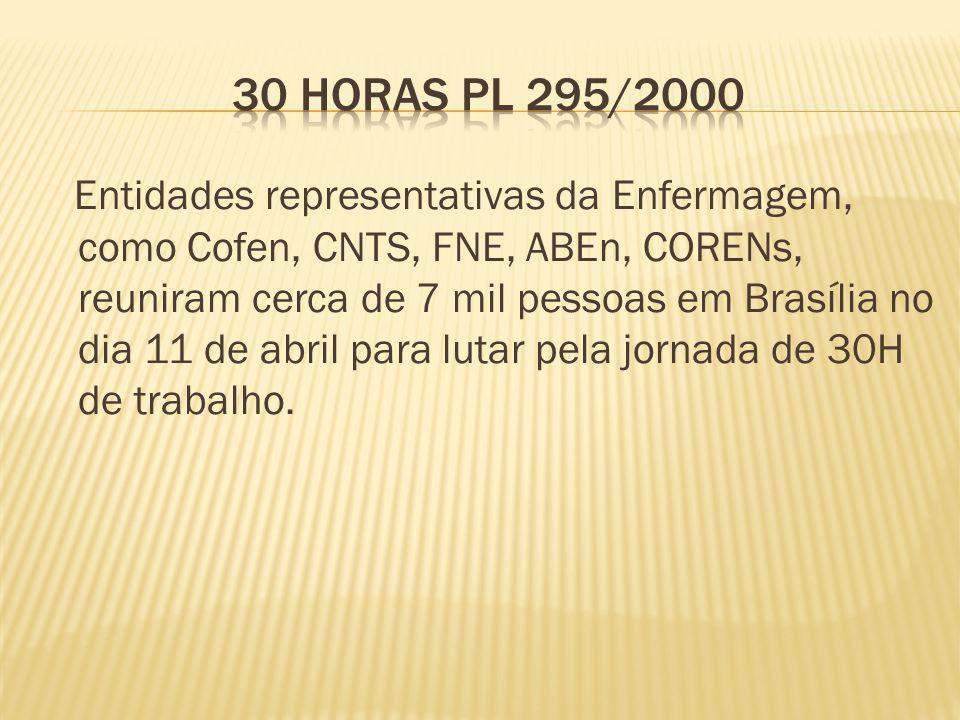 Entidades representativas da Enfermagem, como Cofen, CNTS, FNE, ABEn, CORENs, reuniram cerca de 7 mil pessoas em Brasília no dia 11 de abril para lutar pela jornada de 30H de trabalho.