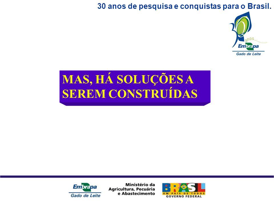 30 anos de pesquisa e conquistas para o Brasil. MAS, HÁ SOLUÇÕES A SEREM CONSTRUÍDAS