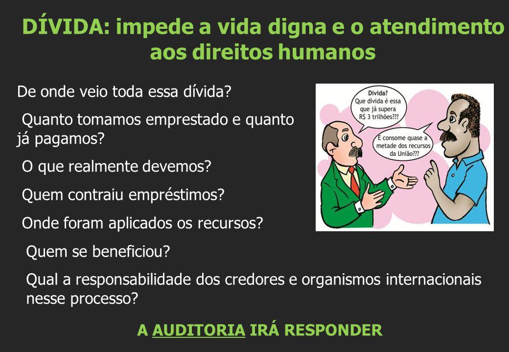 DÍVIDA: impede a vida digna e o atendimento aos direitos humanos Quem se beneficiou.