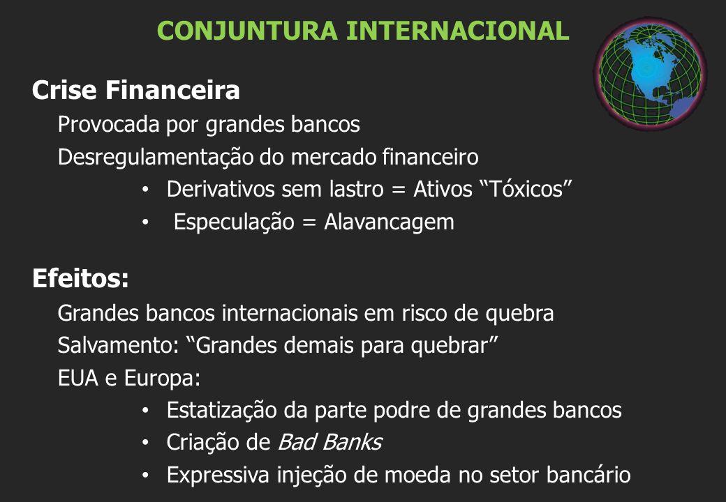 """CONJUNTURA INTERNACIONAL Crise Financeira Provocada por grandes bancos Desregulamentação do mercado financeiro Derivativos sem lastro = Ativos """"Tóxico"""
