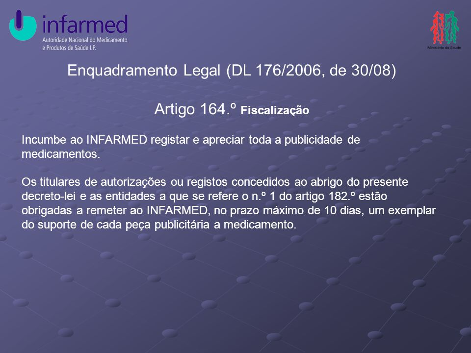 Enquadramento Legal (DL 176/2006, de 30/08) Artigo 164.º Fiscalização Incumbe ao INFARMED registar e apreciar toda a publicidade de medicamentos.