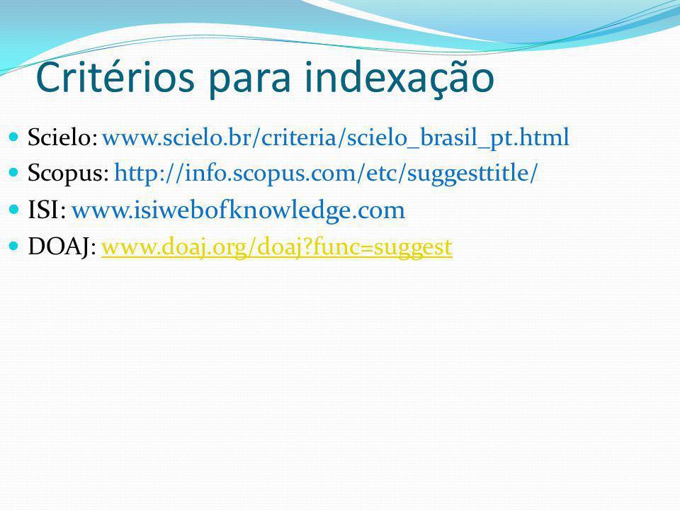 Critérios para indexação Scielo: www.scielo.br/criteria/scielo_brasil_pt.html Scopus: http://info.scopus.com/etc/suggesttitle/ ISI: www.isiwebofknowledge.com DOAJ: www.doaj.org/doaj?func=suggestwww.doaj.org/doaj?func=suggest