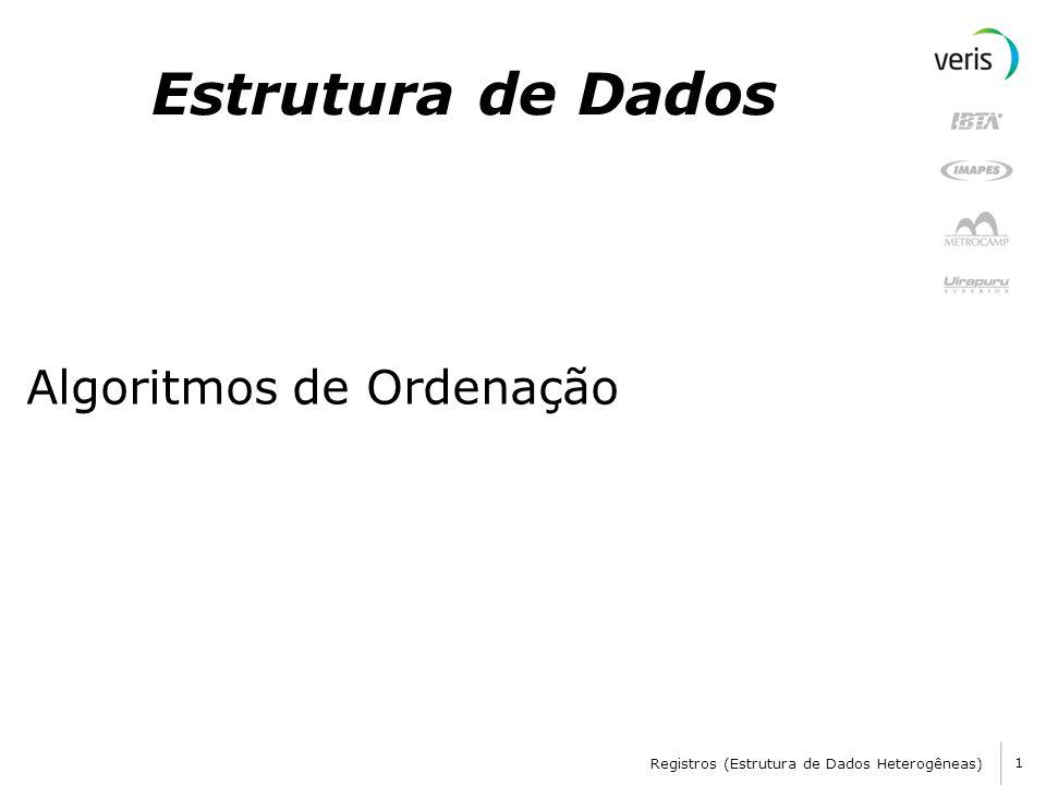 Registros (Estrutura de Dados Heterogêneas) 1 Estrutura de Dados Algoritmos de Ordenação