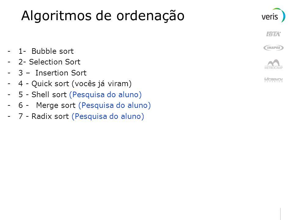 Algoritmos de ordenação -1- Bubble sort -2- Selection Sort -3 – Insertion Sort -4 - Quick sort (vocês já viram) -5 - Shell sort (Pesquisa do aluno) -6