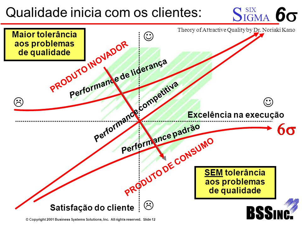 Qualidade inicia com os clientes: © Copyright 2001 Business Systems Solutions, Inc. All rights reserved. Slide 12 66 Performance de liderança Perfor