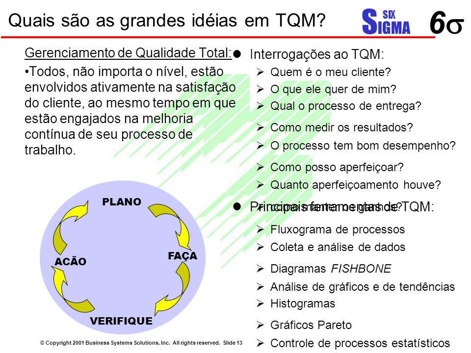 66 S IGMA SIX Quais são as grandes idéias em TQM? © Copyright 2001 Business Systems Solutions, Inc. All rights reserved. Slide 13 Gerenciamento de Q