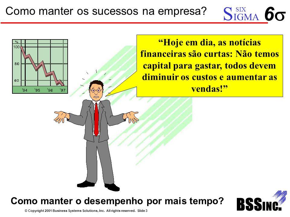 """Como manter os sucessos na empresa? © Copyright 2001 Business Systems Solutions, Inc. All rights reserved. Slide 3 66 S IGMA SIX """"Hoje em dia, as no"""