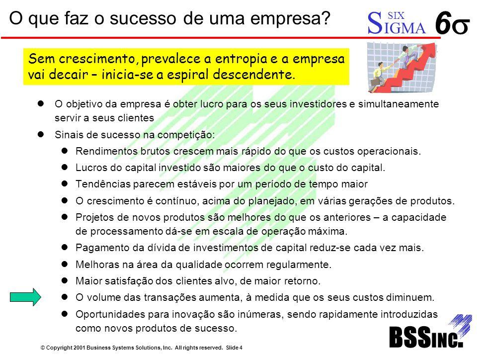 O que faz o sucesso de uma empresa? © Copyright 2001 Business Systems Solutions, Inc. All rights reserved. Slide 4 66 S IGMA SIX O objetivo da empre