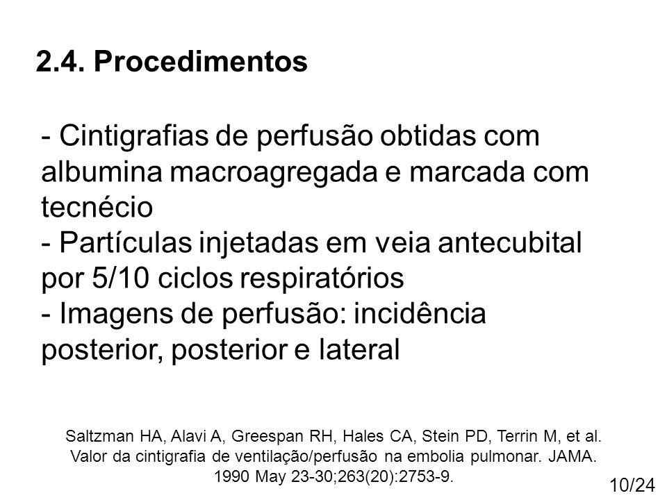 10/24 2.4. Procedimentos - Cintigrafias de perfusão obtidas com albumina macroagregada e marcada com tecnécio - Partículas injetadas em veia antecubit