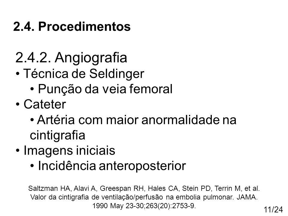 11/24 2.4. Procedimentos 2.4.2. Angiografia Técnica de Seldinger Punção da veia femoral Cateter Artéria com maior anormalidade na cintigrafia Imagens