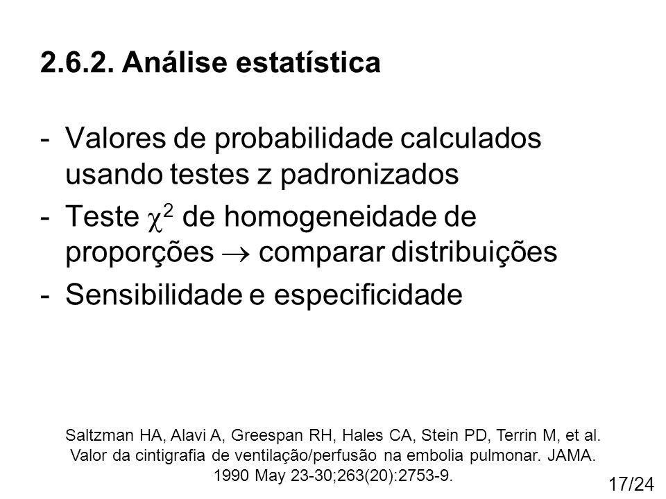 17/24 -Valores de probabilidade calculados usando testes z padronizados -Teste  2 de homogeneidade de proporções  comparar distribuições -Sensibilid
