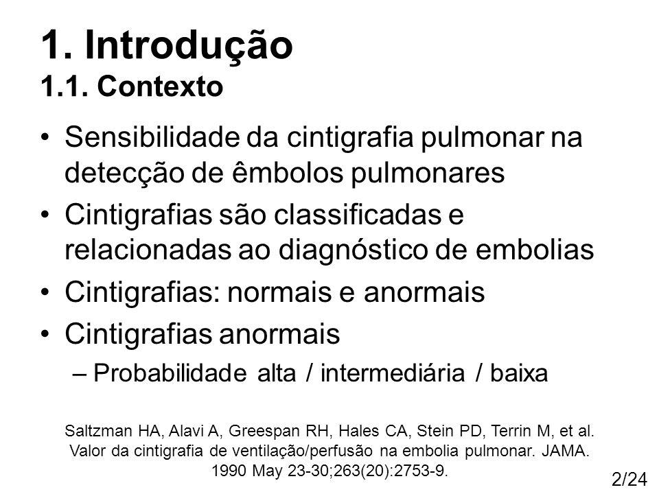 2/24 1. Introdução 1.1. Contexto Sensibilidade da cintigrafia pulmonar na detecção de êmbolos pulmonares Cintigrafias são classificadas e relacionadas