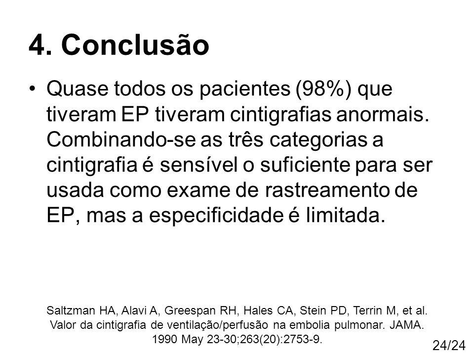 24/24 Quase todos os pacientes (98%) que tiveram EP tiveram cintigrafias anormais. Combinando-se as três categorias a cintigrafia é sensível o suficie