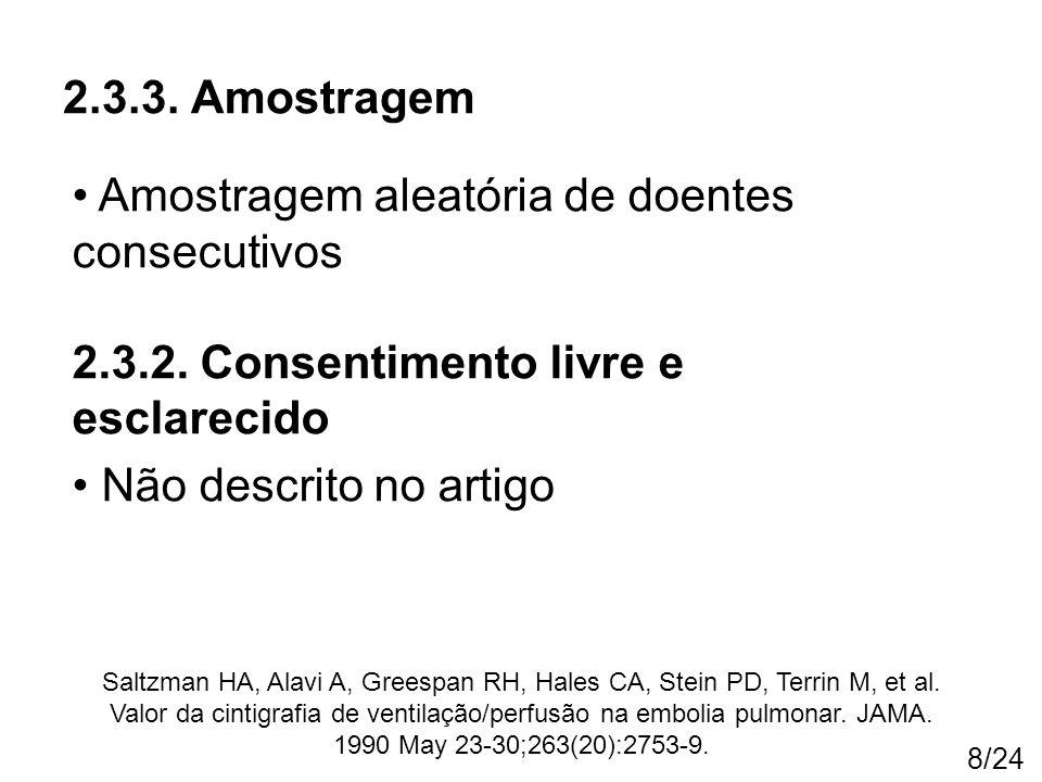 8/24 2.3.3. Amostragem Saltzman HA, Alavi A, Greespan RH, Hales CA, Stein PD, Terrin M, et al. Valor da cintigrafia de ventilação/perfusão na embolia