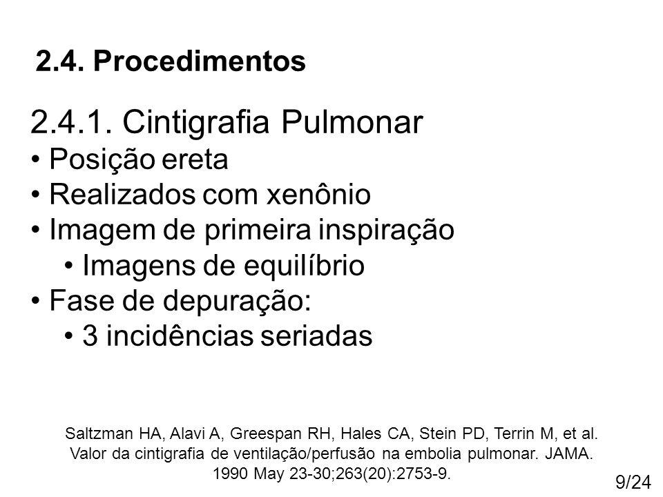 9/24 2.4. Procedimentos Saltzman HA, Alavi A, Greespan RH, Hales CA, Stein PD, Terrin M, et al. Valor da cintigrafia de ventilação/perfusão na embolia