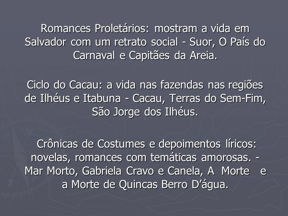 Romances Proletários: mostram a vida em Salvador com um retrato social - Suor, O País do Carnaval e Capitães da Areia. Romances Proletários: mostram a
