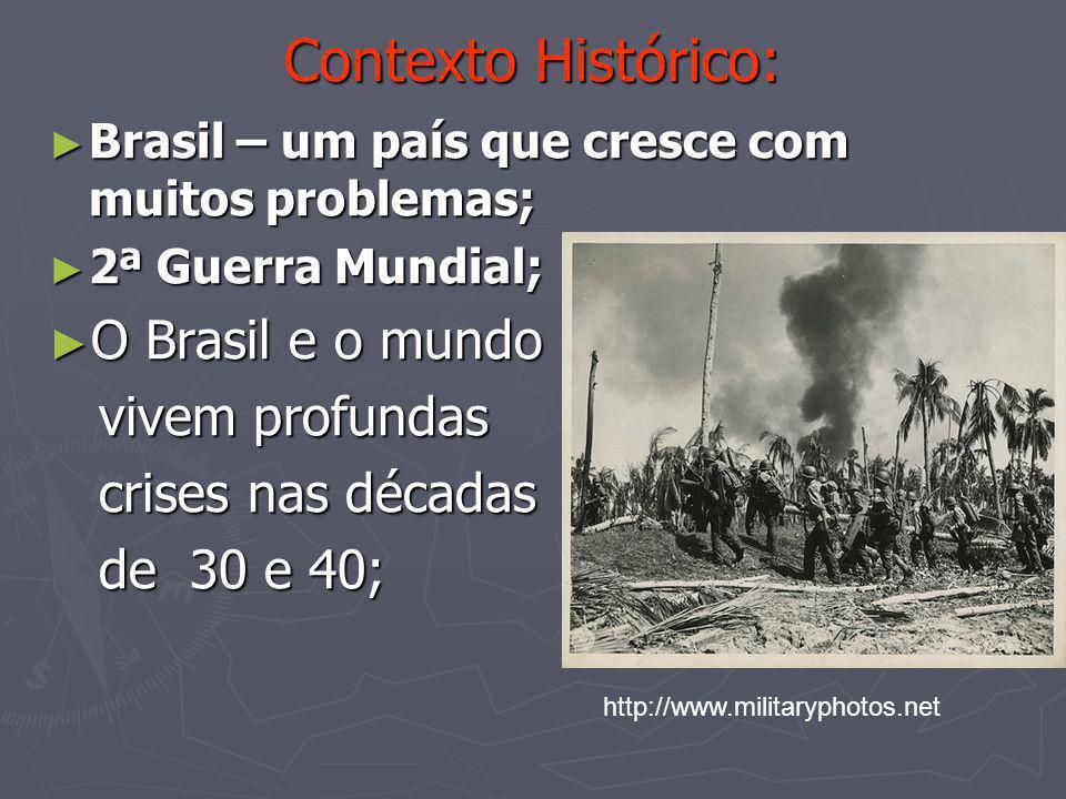 Contexto Histórico: ► Brasil – um país que cresce com muitos problemas; ► 2ª Guerra Mundial; ► O Brasil e o mundo vivem profundas vivem profundas cris