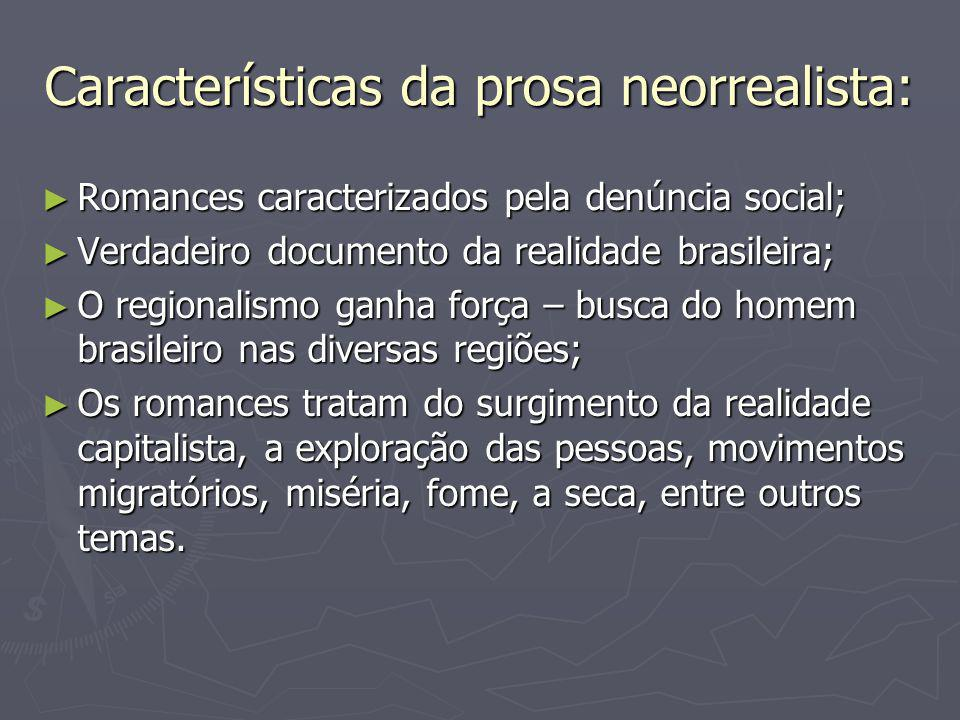 Características da prosa neorrealista: ► Romances caracterizados pela denúncia social; ► Verdadeiro documento da realidade brasileira; ► O regionalism