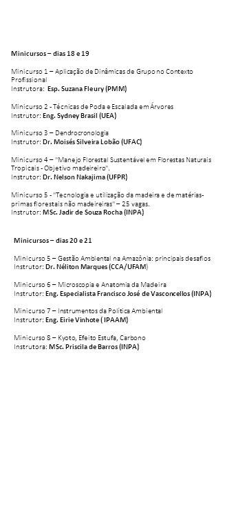 Minicursos – dias 18 e 19 Minicurso 1 – Aplicação de Dinâmicas de Grupo no Contexto Profissional Instrutora: Esp. Suzana Fleury (PMM) Minicurso 2 - Té