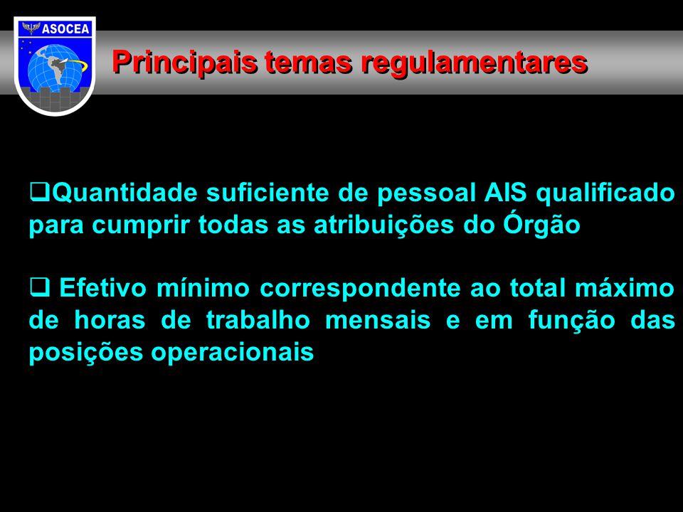  Quantidade suficiente de pessoal AIS qualificado para cumprir todas as atribuições do Órgão  Efetivo mínimo correspondente ao total máximo de horas