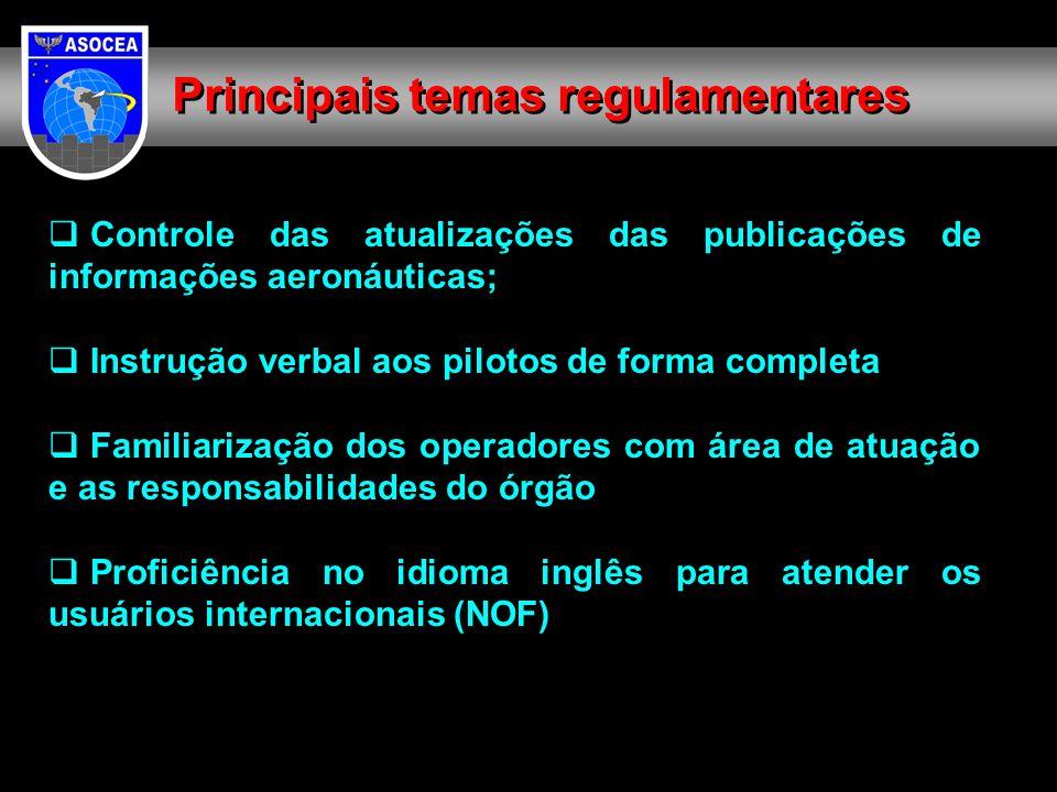 Controle das atualizações das publicações de informações aeronáuticas;  Instrução verbal aos pilotos de forma completa  Familiarização dos operado