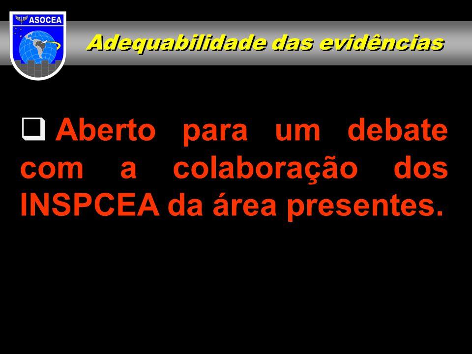  Aberto para um debate com a colaboração dos INSPCEA da área presentes. Adequabilidade das evidências