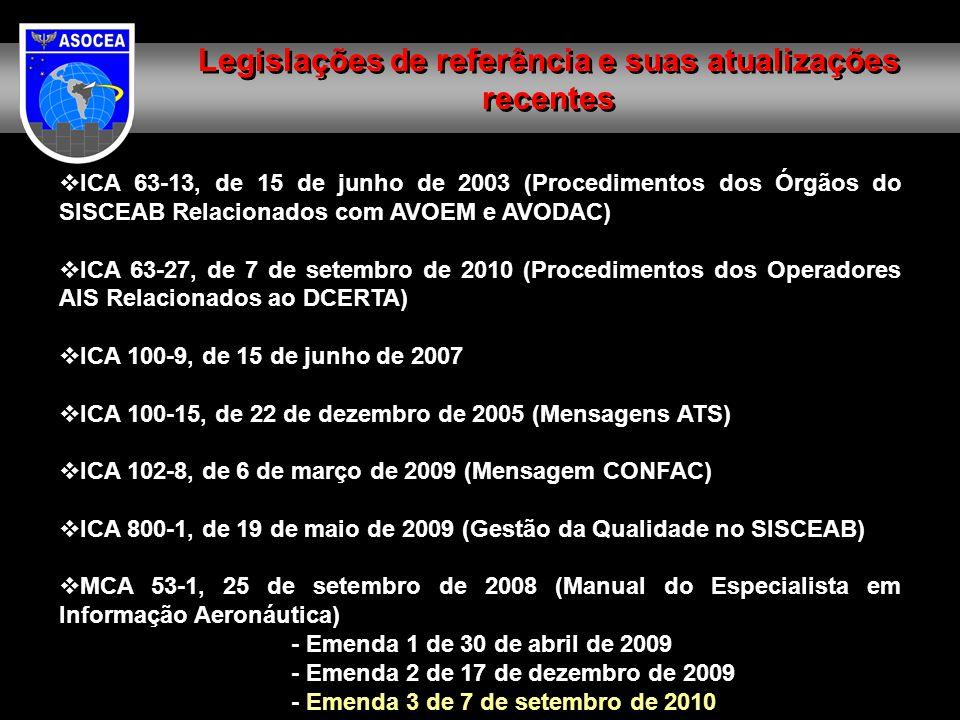  ICA 63-13, de 15 de junho de 2003 (Procedimentos dos Órgãos do SISCEAB Relacionados com AVOEM e AVODAC)  ICA 63-27, de 7 de setembro de 2010 (Proce