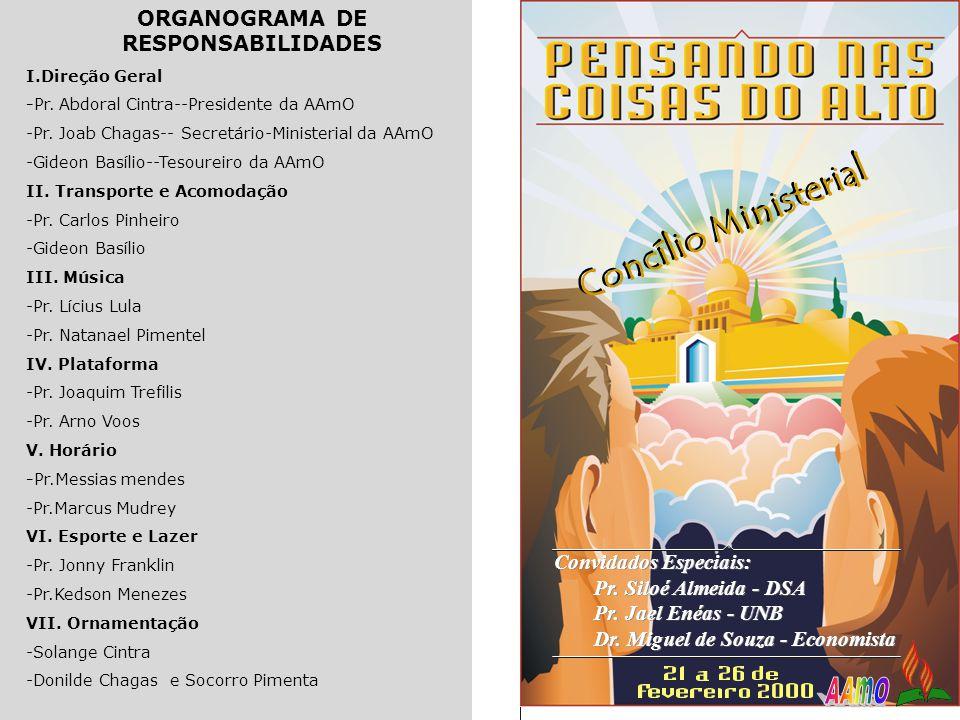 ORGANOGRAMA DE RESPONSABILIDADES I.Direção Geral -Pr. Abdoral Cintra--Presidente da AAmO -Pr. Joab Chagas-- Secretário-Ministerial da AAmO -Gideon Bas