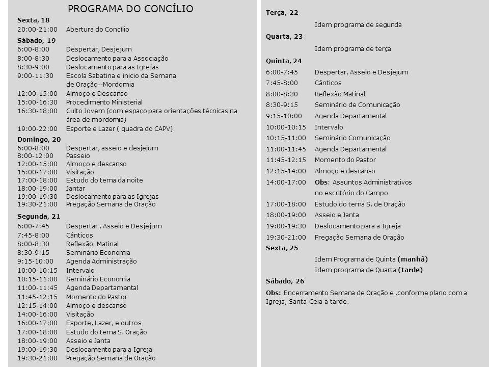 PROGRAMA DO CONCÍLIO Sexta, 18 20:00-21:00Abertura do Concílio Sábado, 19 6:00-8:00Despertar, Desjejum 8:00-8:30Deslocamento para a Associação 8:30-9: