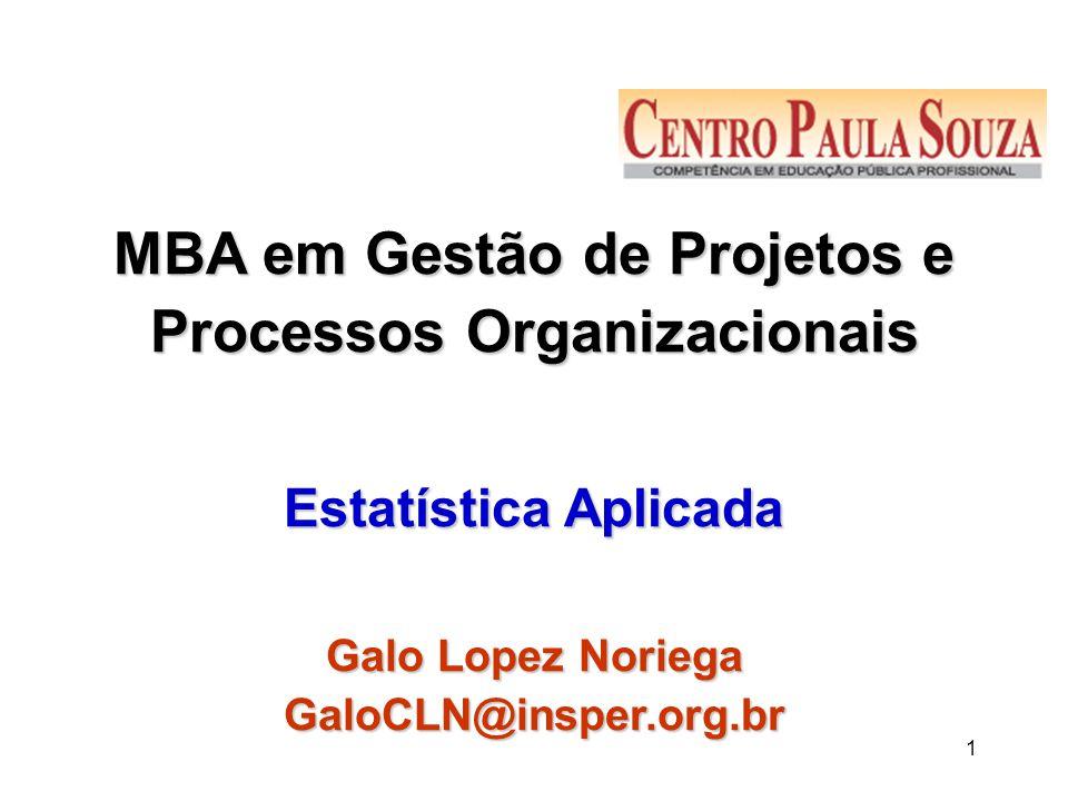 1 MBA em Gestão de Projetos e Processos Organizacionais Estatística Aplicada Galo Lopez Noriega GaloCLN@insper.org.br