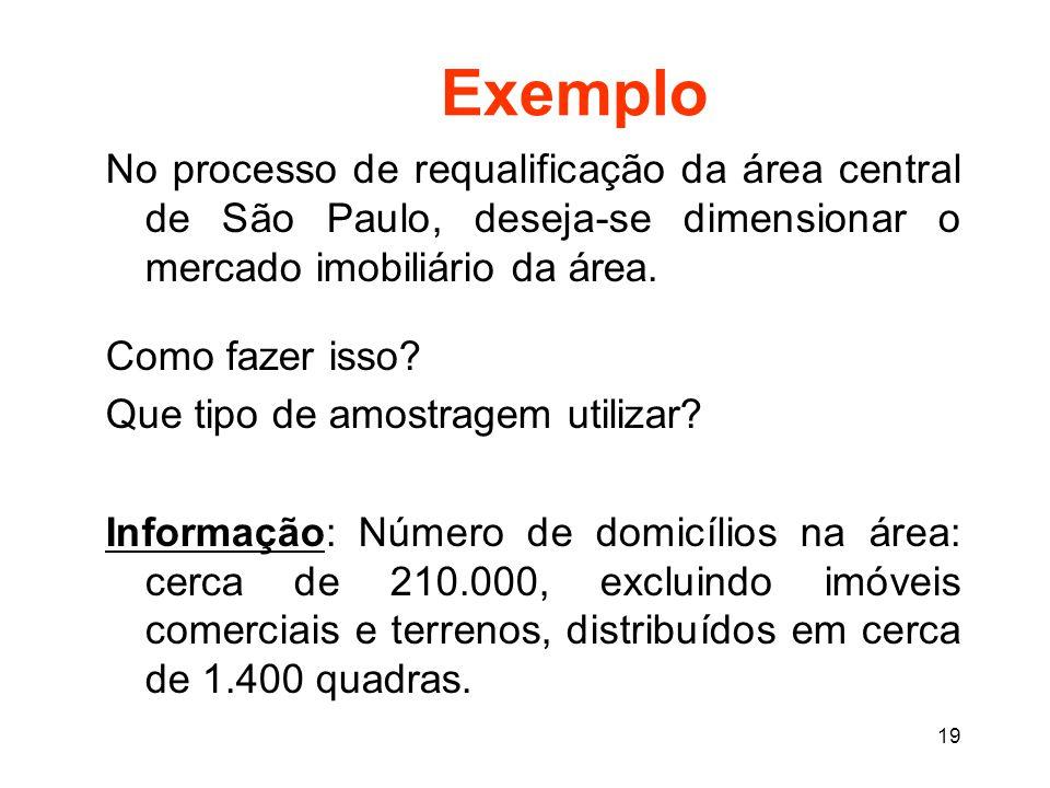 19 Exemplo No processo de requalificação da área central de São Paulo, deseja-se dimensionar o mercado imobiliário da área.