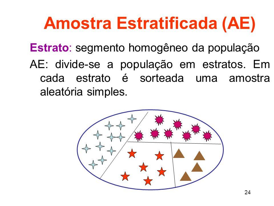 24 Amostra Estratificada (AE) Estrato: segmento homogêneo da população AE: divide-se a população em estratos.