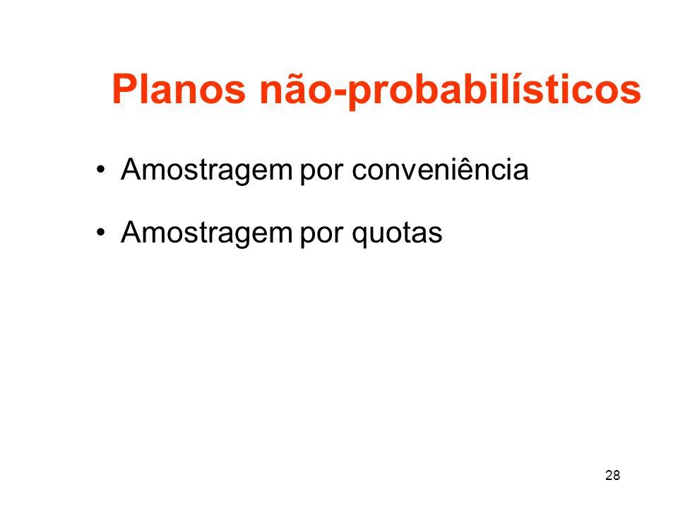 28 Planos não-probabilísticos Amostragem por conveniência Amostragem por quotas