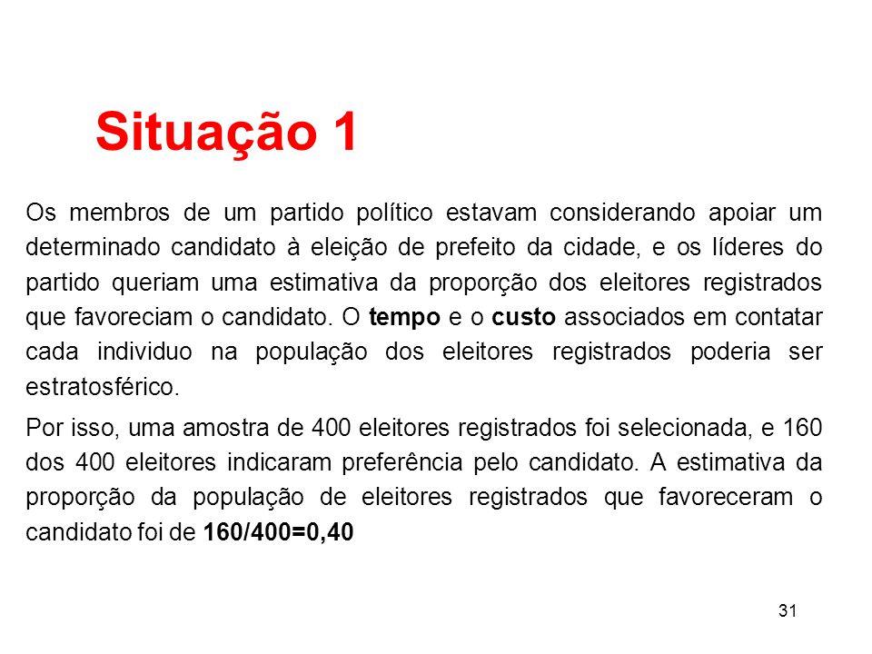 31 Os membros de um partido político estavam considerando apoiar um determinado candidato à eleição de prefeito da cidade, e os líderes do partido queriam uma estimativa da proporção dos eleitores registrados que favoreciam o candidato.
