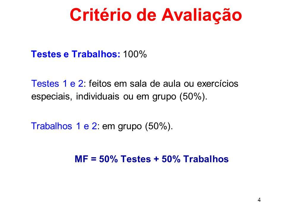 4 Critério de Avaliação Testes e Trabalhos: 100% Testes 1 e 2: feitos em sala de aula ou exercícios especiais, individuais ou em grupo (50%).