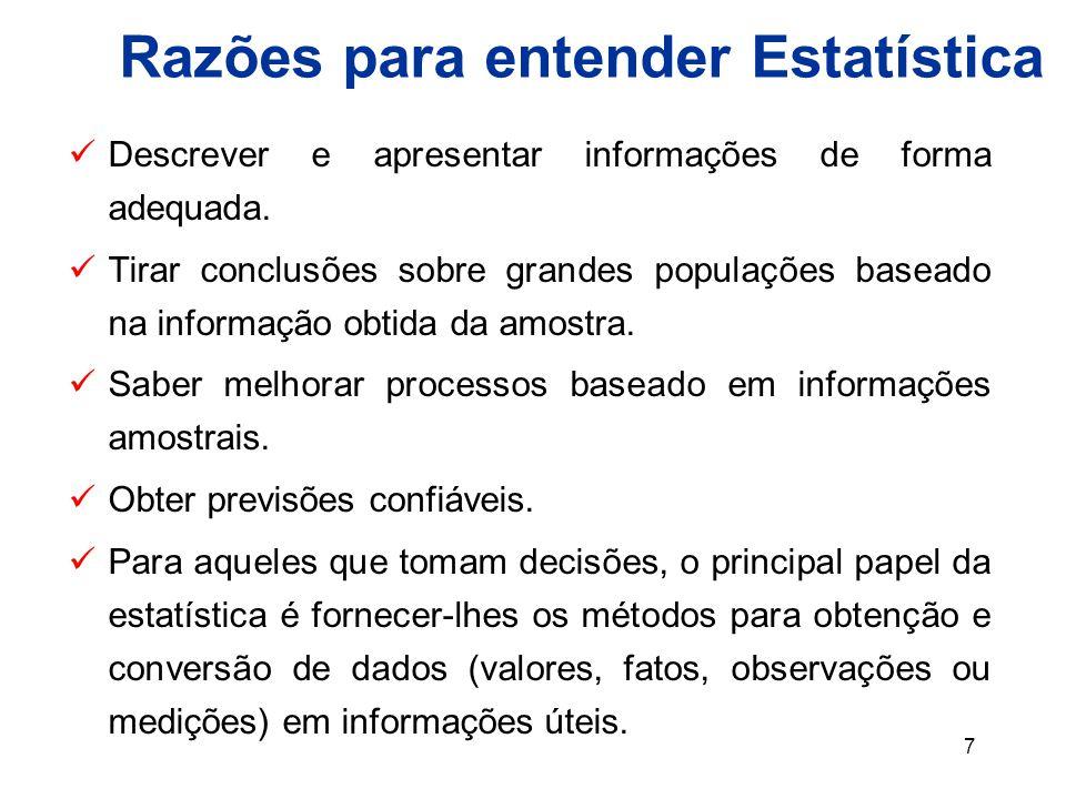 7 Razões para entender Estatística Descrever e apresentar informações de forma adequada.