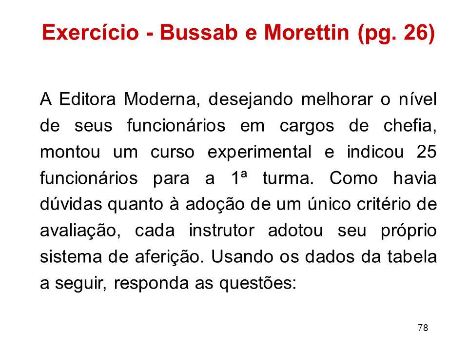 78 Exercício - Bussab e Morettin (pg.