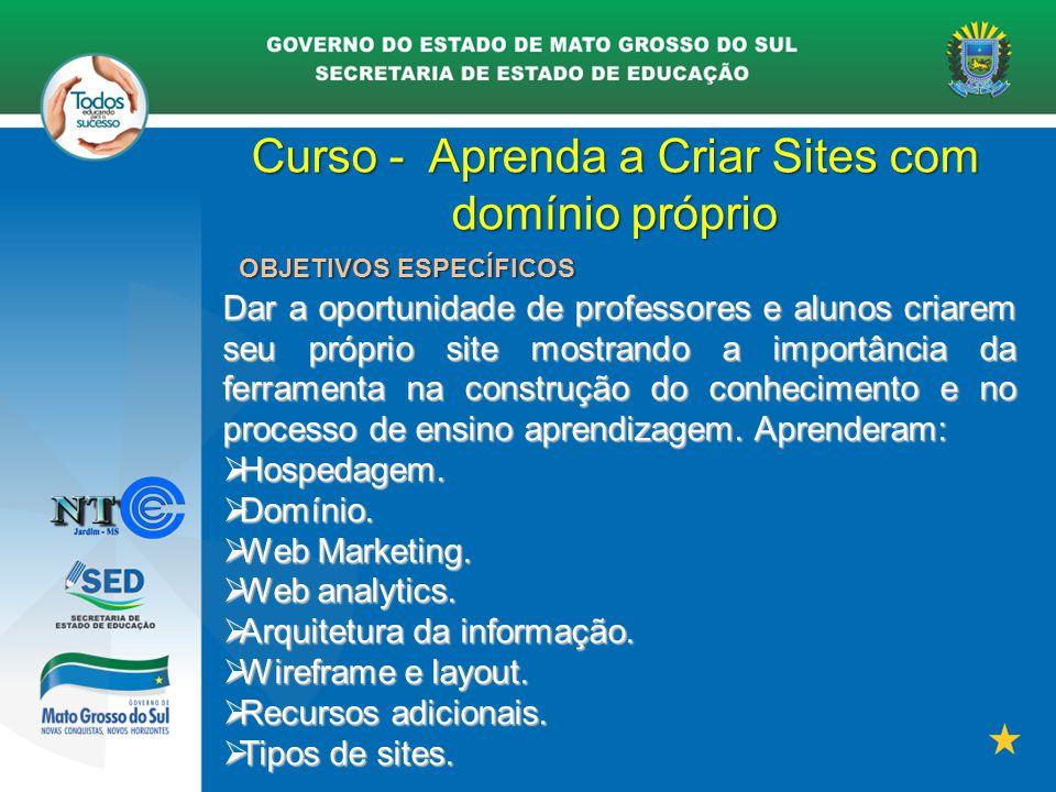 Curso - Aprenda a Criar Sites com domínio próprio OBJETIVOS ESPECÍFICOS Dar a oportunidade de professores e alunos criarem seu próprio site mostrando