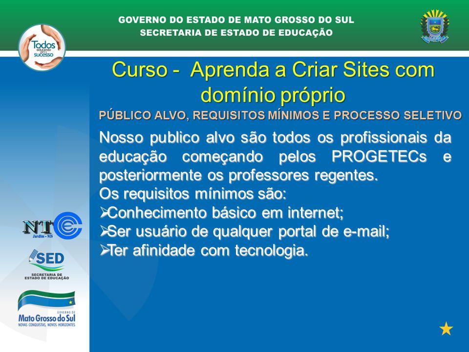 Curso - Aprenda a Criar Sites com domínio próprio PÚBLICO ALVO, REQUISITOS MÍNIMOS E PROCESSO SELETIVO Nosso publico alvo são todos os profissionais d