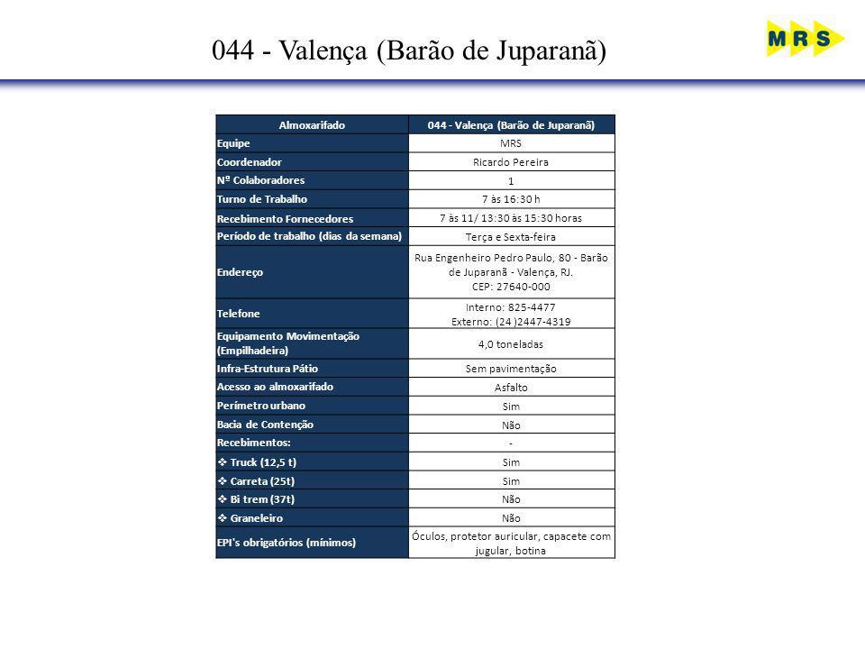 044 - Valença (Barão de Juparanã) Almoxarifado044 - Valença (Barão de Juparanã) EquipeMRS CoordenadorRicardo Pereira Nº Colaboradores1 Turno de Trabal
